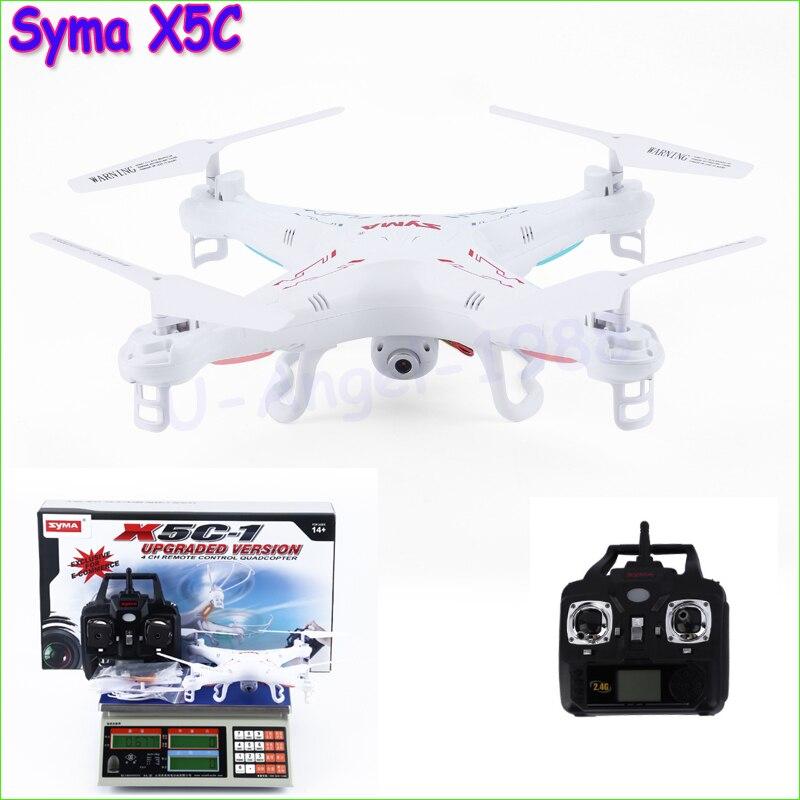 Originale syma x5c explorers quadcopter drone 2.4g 4ch rc modalità 2 con la macchina fotografica hd lcd rtf 4 gb scheda