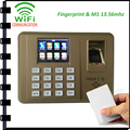 tcp/ip wifi Fingerprint time attendance time System with M1 13.56mhz card reader free Software Wifi Fingerprint Time clock