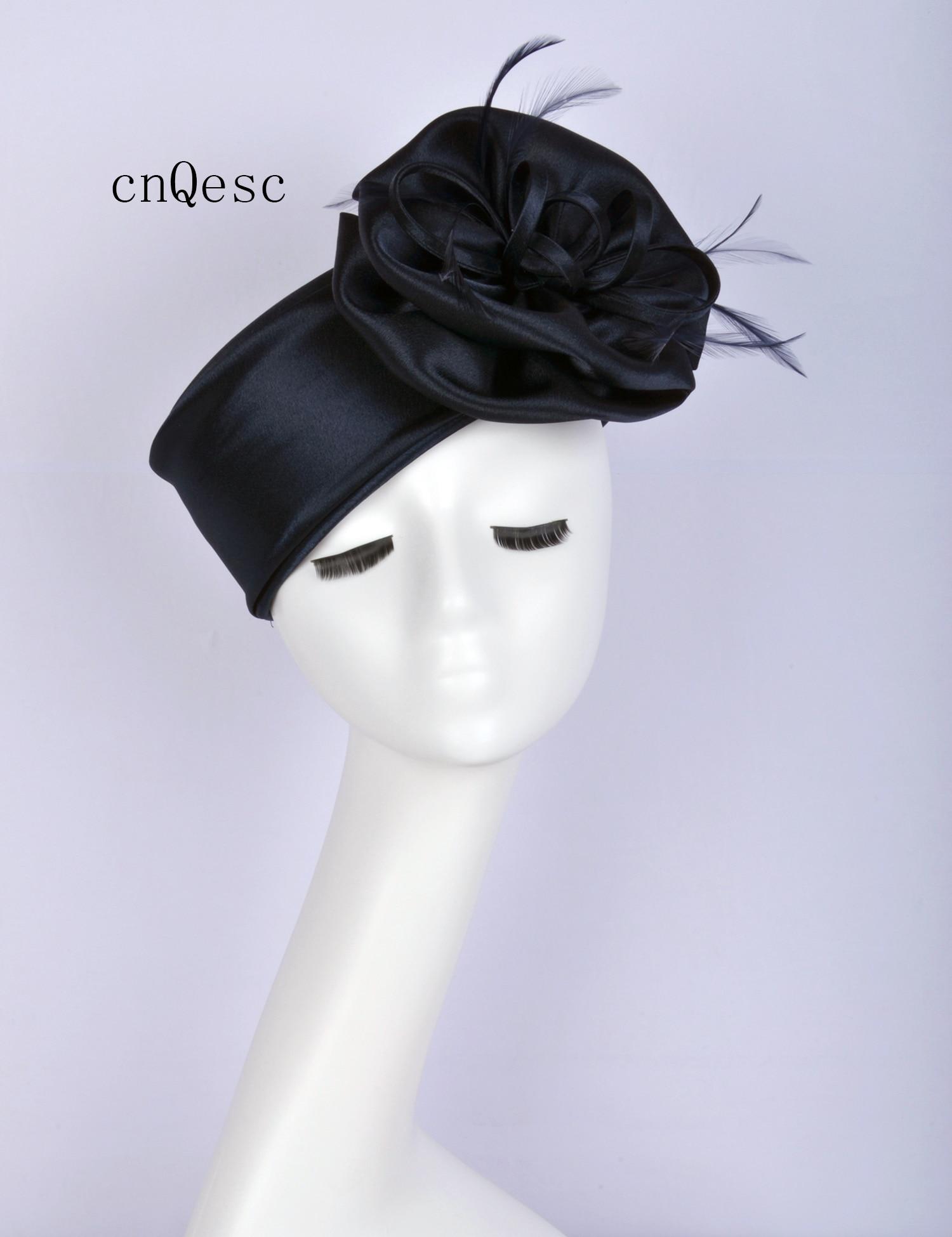 2019 très foncé bleu marine Satin fascinator Mini chapeau Kentucky Derby courses de mariage douche de mariée mère de la mariée w/plume