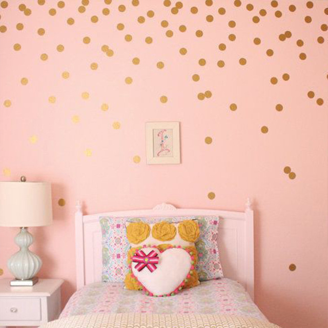 mini gold polka dots wall sticker diy vinyl interesting wall art