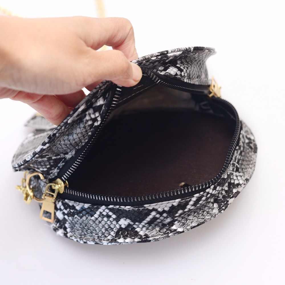Retro serpentina corrente redonda bolsa feminina bolsas impressas pequenas bolsas de couro do plutônio ombro crossbody sacos saco do mensageiro do sexo feminino 2019