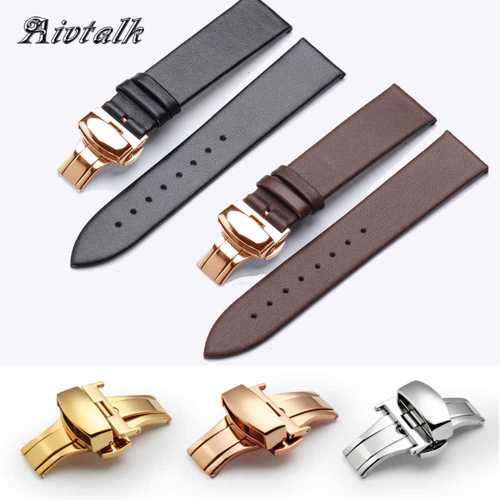14 16 18 20 22 mm Watchband Strap Genuine Leather Watchband With Butterfly Buckle Smooth Soft Thin Watch Band Belt for Men Women