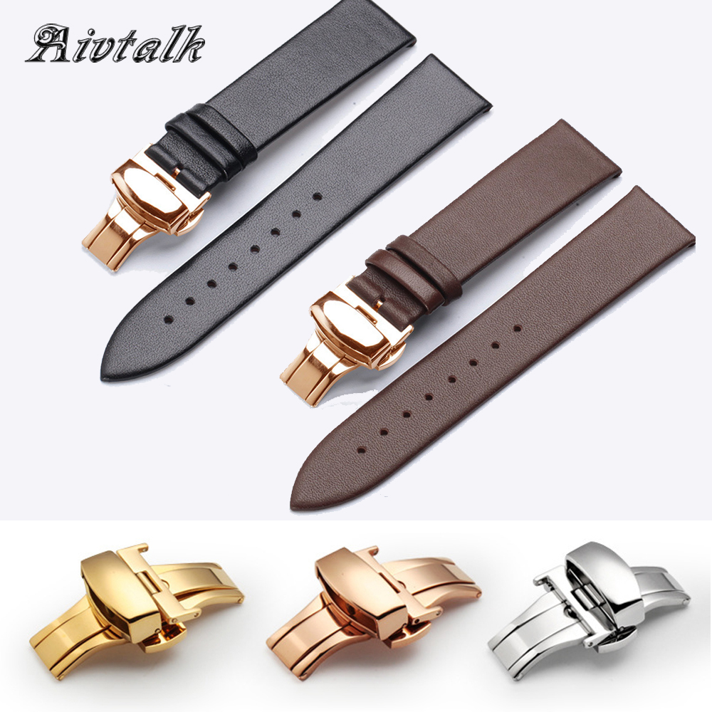 14 16 18 20 <font><b>22</b></font> <font><b>mm</b></font> Watchband Strap Genuine <font><b>Leather</b></font> Watchband With Butterfly Buckle Smooth Soft Thin <font><b>Watch</b></font> <font><b>Band</b></font> Belt for Men Women image