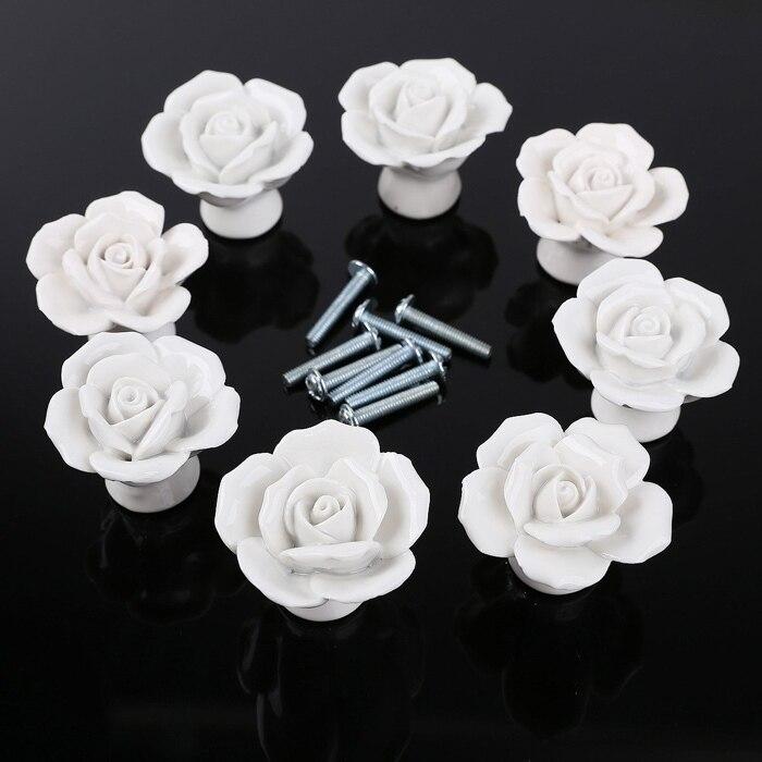White Rose Flower Dresser Knobs Ceramic Drawer Knobs