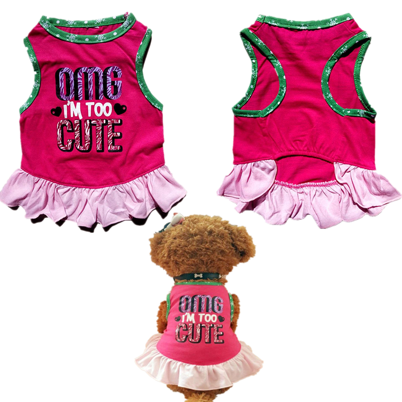 Cute Cheer Leader Dog Dress Summer XS/S Clothes For Small Dogs Red Pleated Cotton Dresses For Dogs Cats Wholesale JA1