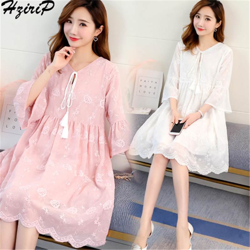 HziriP New 2018 Summer Maternity Dresses Fashion Loose Hollow Cotton Pregnant Women Dress Casual Pregnancy Elegant Clothes
