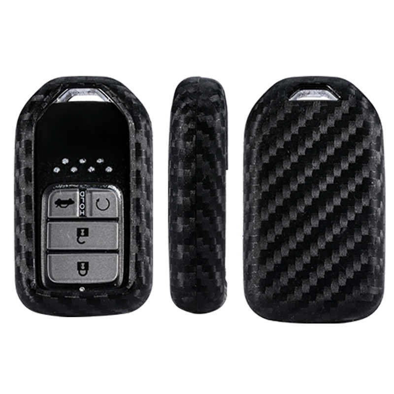 for Honda//Civic//Accord Pilot 2015 2016 2017 Remote Key Case Fob Cover Holder Keychain Carbon Fiber Silicone Car
