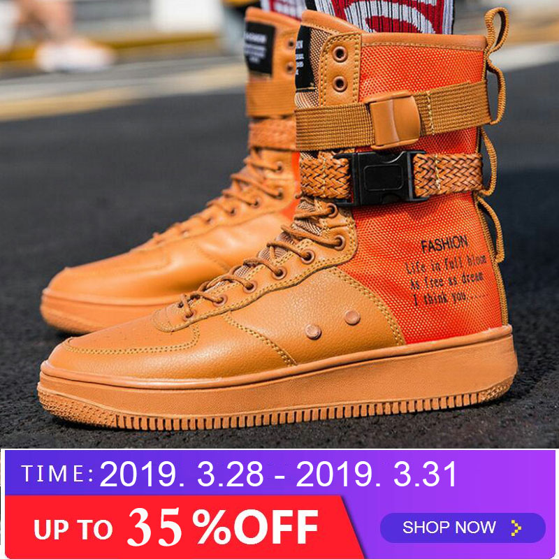 Basic Boots New Fashion Men Shoes Boots Sneakers High Top Casual Flats Shoes Male Hip-hop Mid Calf Boots Shoes Boys Buckle Shoes Pp-38
