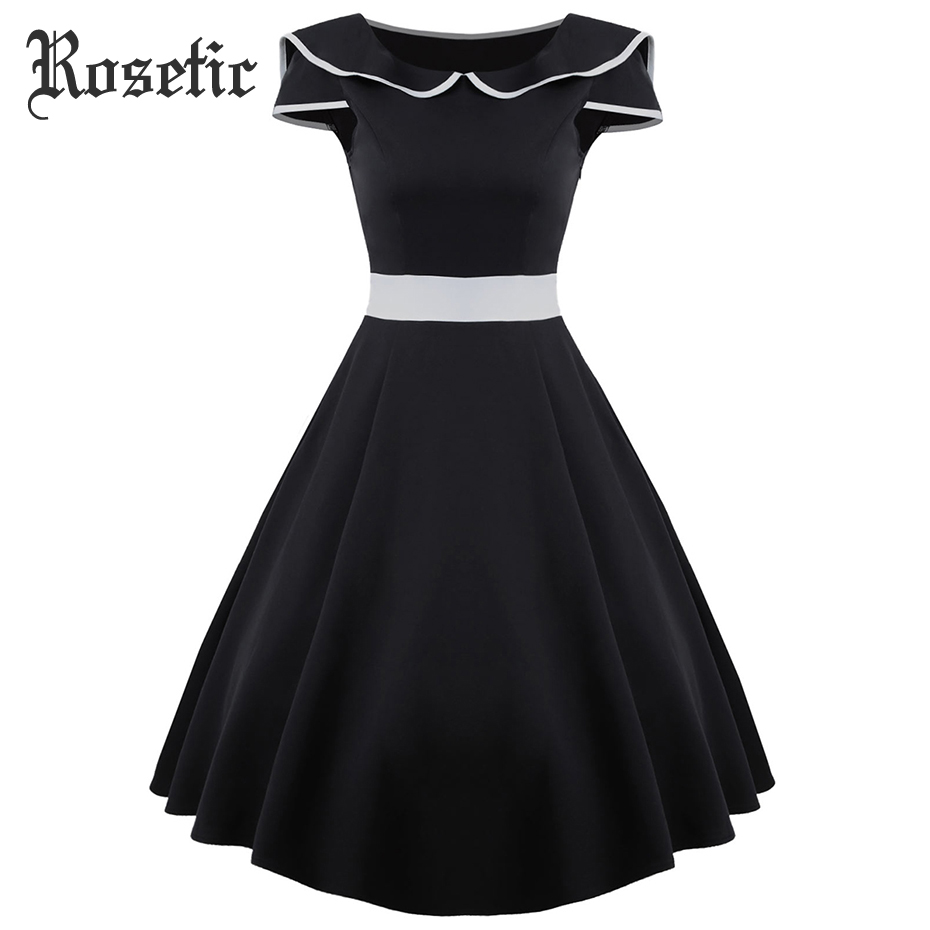 Rosetic Woman Gothic Vintage Dress Black A-Line Color Block Short Sleeve Fashion Travel Party Sexy Girls Retro Goth Casual Dress