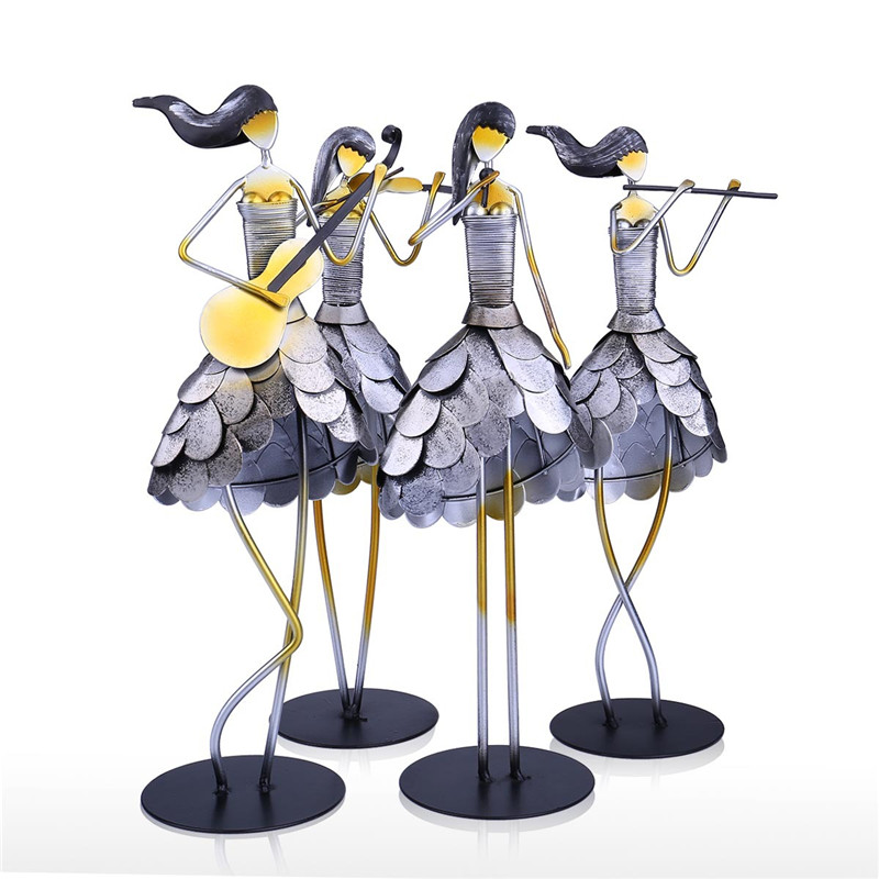 4Pcs/set Music Instrument Singing Girl Band Statue Figure Figurine Creative Metal Art Sculpture Home Decoration R4594Pcs/set Music Instrument Singing Girl Band Statue Figure Figurine Creative Metal Art Sculpture Home Decoration R459