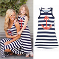 Mother Daughter Dress 2017 Summer Mom Girl baby Dress Family style Sleeveless Casual Skirt Striped mommy and me clothes
