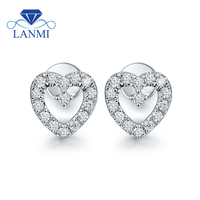 Heart Shape VS Diamond Stud Earring Real 18K White Gold Girl Anniversary Fine Jewelry Wholesale Loving