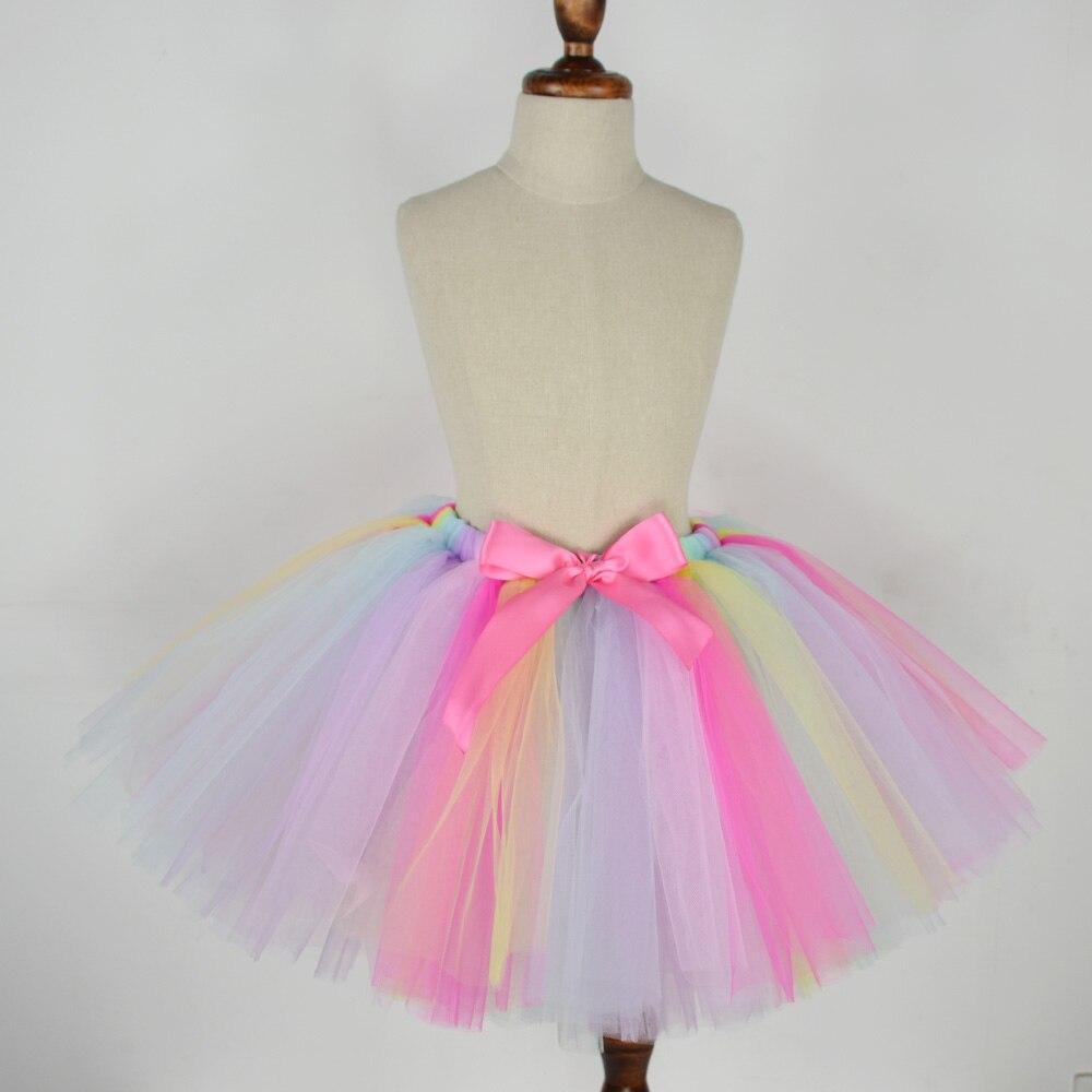 Bebé niñas Pastel de arco iris Tutu falda de tul de Nylon tutú para niñas niños de traje de fiesta de cumpleaños del arco iris falda del bebé
