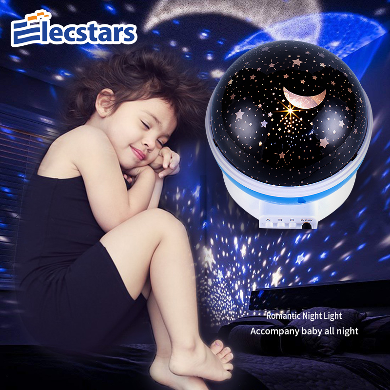 Elecstars LED Night Light Atmosphere Lamp Gift Star Projector Lamp Rotating Battery USB Romantic Starry Sky Projector Best Gift