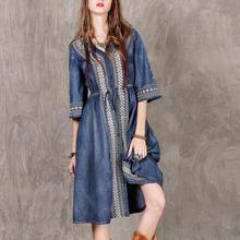 2019 New Yfashion Women Summer Elegant Charming Ethnic Style Embroidered Drawstring Leisure Casual Dress drawstring embroidered mini dress