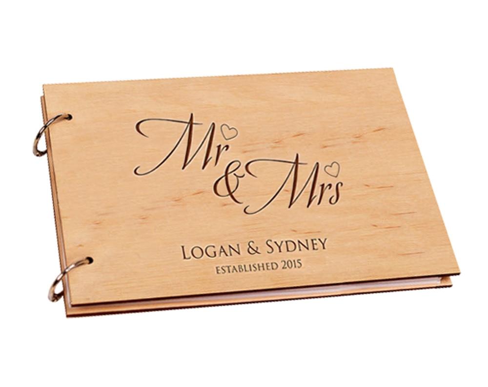 Wedding Guest Book Personalized Wood Wedding Photo Album Custom Name ...