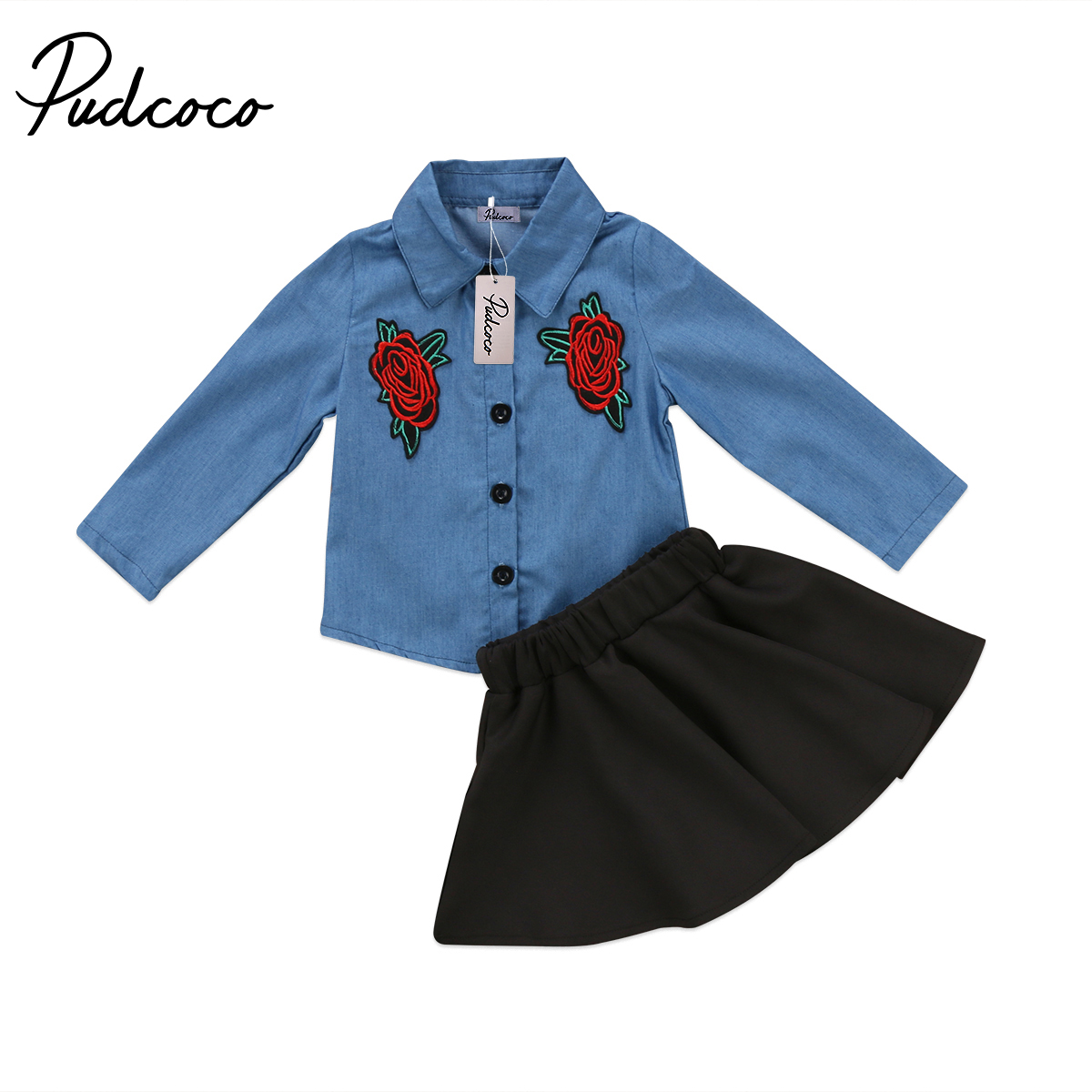 2PCS Girls Outfits Kids Baby Girls Denim Shirts Floral Tops+Black Skirts Embroidery Outfits Girls Summer Autumn Clothes Set newborn toddler girls summer t shirt skirt clothing set kids baby girl denim tops shirt tutu skirts party 3pcs outfits set
