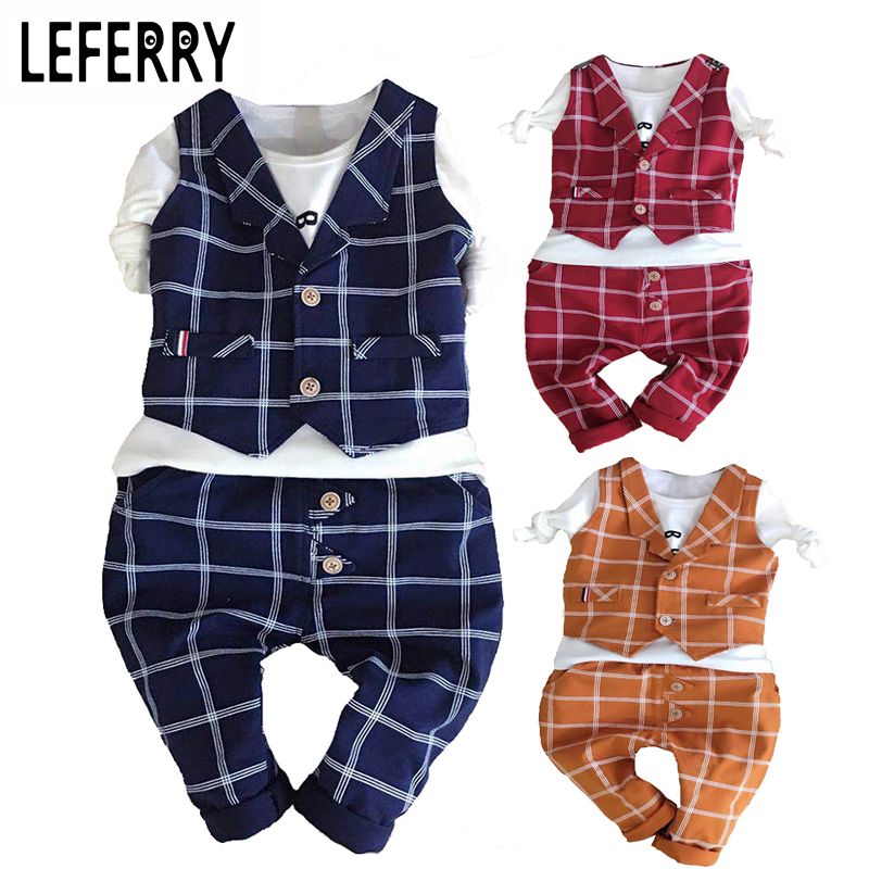 2018 Kids Clothes Baby Boy Clothing Sets 3PCS Gentleman Suit Toddler Boys Clothing Kids Boy Clothes Set Wedding Birthday Outfits