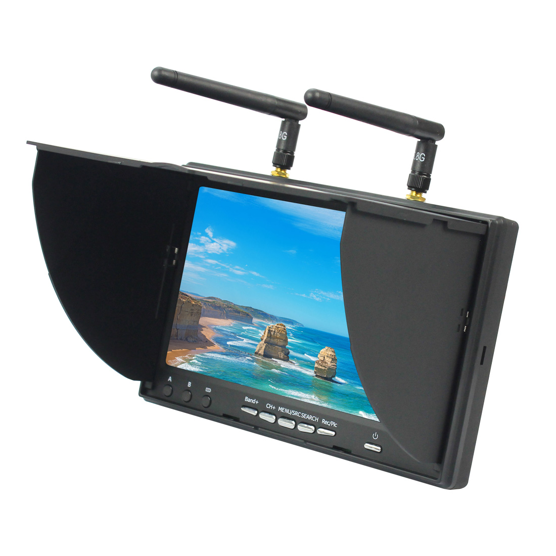 JMT LS-5802D 5.8G FPV DVR 7 Inch Handheld Screen For RC Built-in Dual ReceiverModel Racer Mulitcopter Drone ArplaneJMT LS-5802D 5.8G FPV DVR 7 Inch Handheld Screen For RC Built-in Dual ReceiverModel Racer Mulitcopter Drone Arplane