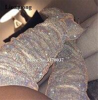 Новейшие шикарные острый носок со стразами тонкий каблук Сапоги выше колен (ботфорты) Дамы сияющий кристалл высокий каблук сапоги свадебны