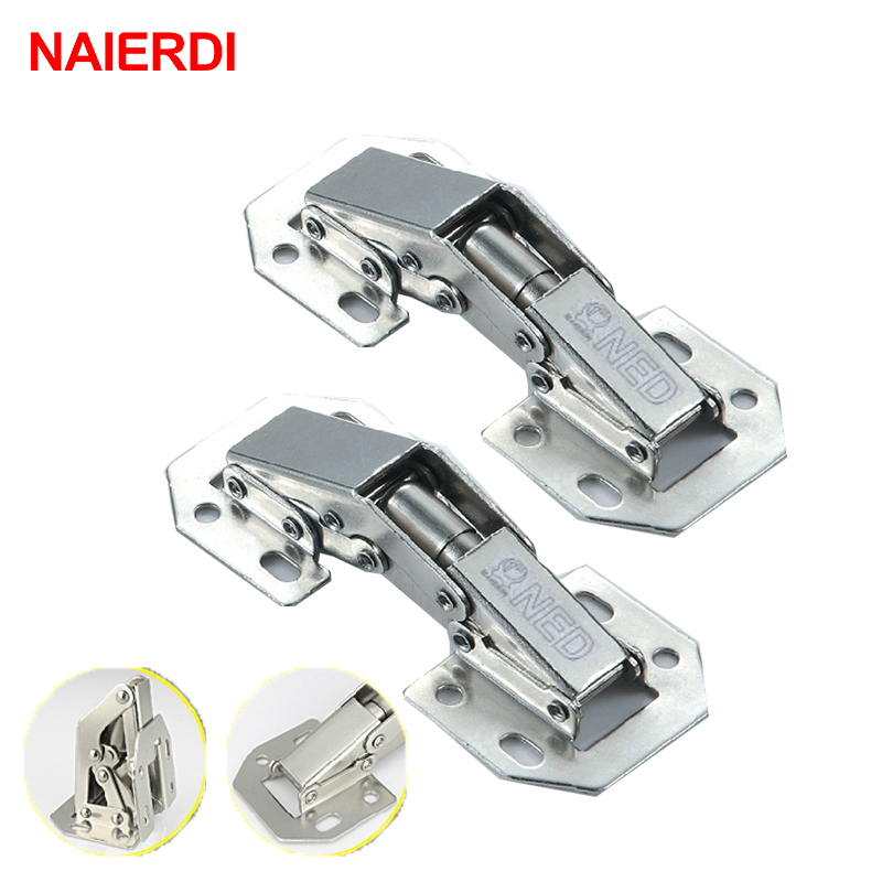 NAIERDI-A99 90 Degree 3 Inch No-Drilling Hole Cabinet Hinge Bridge Shaped Spring Frog Hinge Full Overlay Cupboard Door Hinges 2pcs 90 degree concealed hinges cabinet cupboard furniture hinges bridge shaped door hinge with screws diy hardware tools mayitr