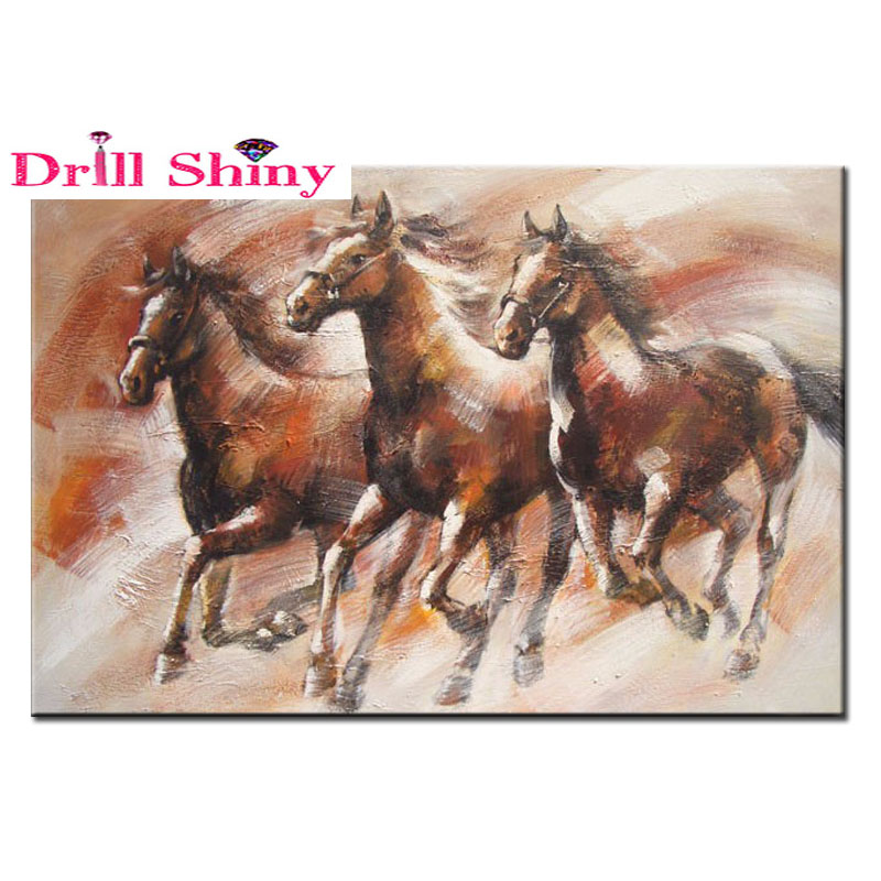 DIY 5D Diamond Painting Full Square Drill Home Decoration Mosaic Embroidery Lnlaid Resin Craft Running Horse Cross Stitch