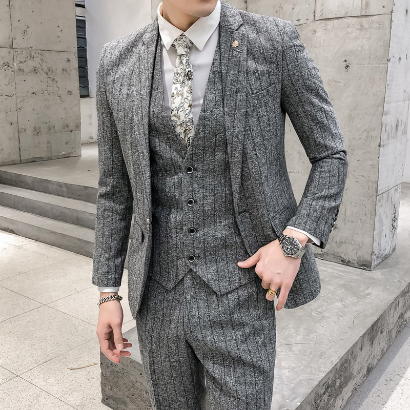 Slim Fit Striped Suits Wedding Dress Suits For Man High Quality Men Dress Formal Wear Suits With Pants 2 Pieces Casual Blazers