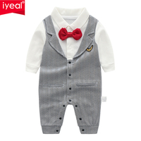 IYEAL Baby Boy Clothes Gentleman Romper Long Sleeve with Bow Tie Suit Infant Toddler Fake Two Pieces Vest Party Wedding Jumpsuit