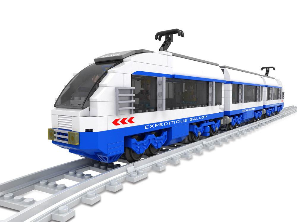 ФОТО Model building kit compatible with lego railroad conveyance Train 3D block Educational model building toys hobbies for children