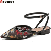 ASUMER black summer new shoes woman buckle sandals women embroider casual mules shoes woman comfortable leather inside
