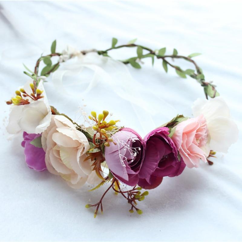 Wedding Floral Crown Head Band Floral Head Wreath Women Flower Headband Bridesmaid Bridal Headpiece Girls Flower Crown