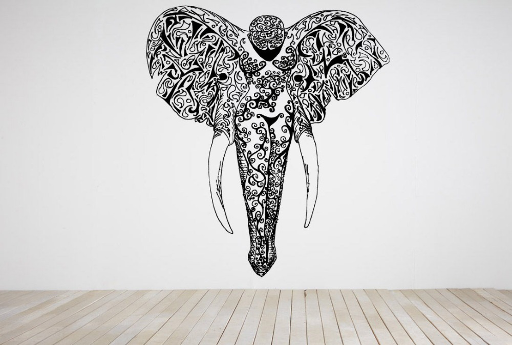 36ec2d48f إزالة ملصقات الحائط غرفة ديكور الحائط الفن الفينيل صائق جدارية الفيل رئيس  هيئة كبيرة كبيرة للماء خلفيات d235
