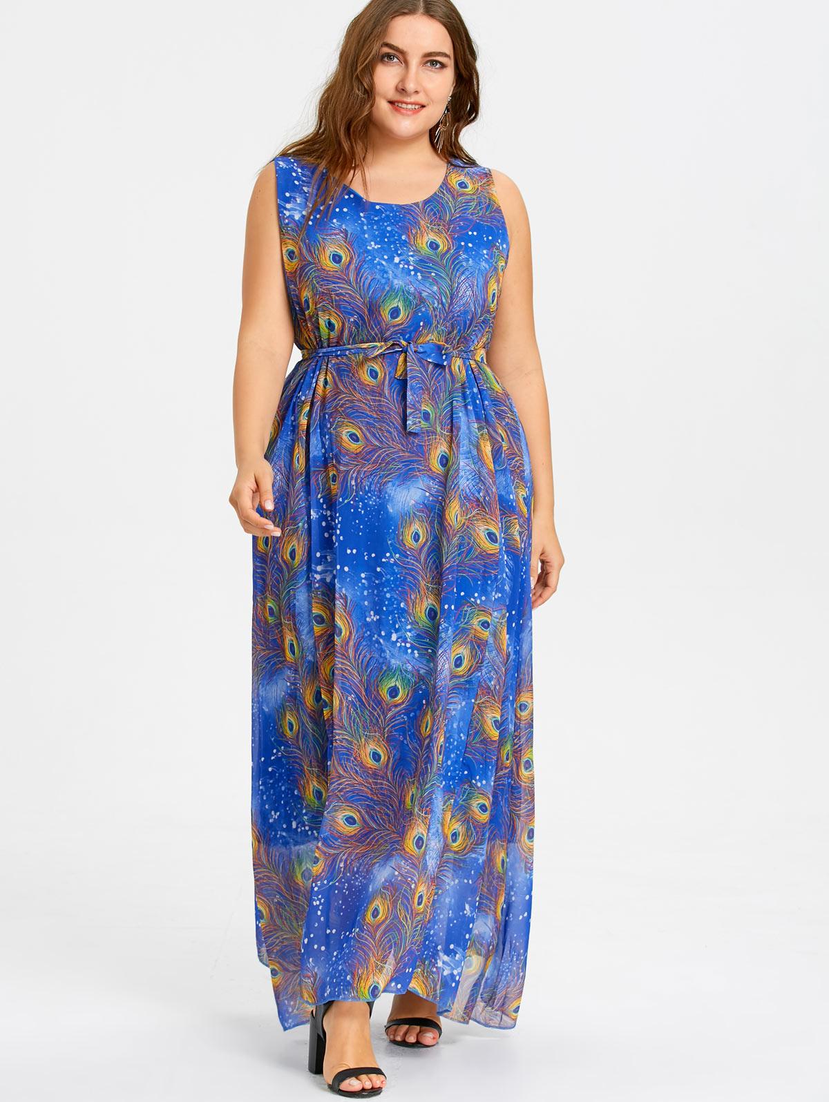 Gamiss Plus Size Peacock Feather Print Maxi Chiffon Dress