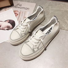 SAILING LU Canvas Shoes Women White Lace-Up Round Toe Flats 2019 Soft Leather Creepers Comfort Solid Female Casual Flats XWD7733