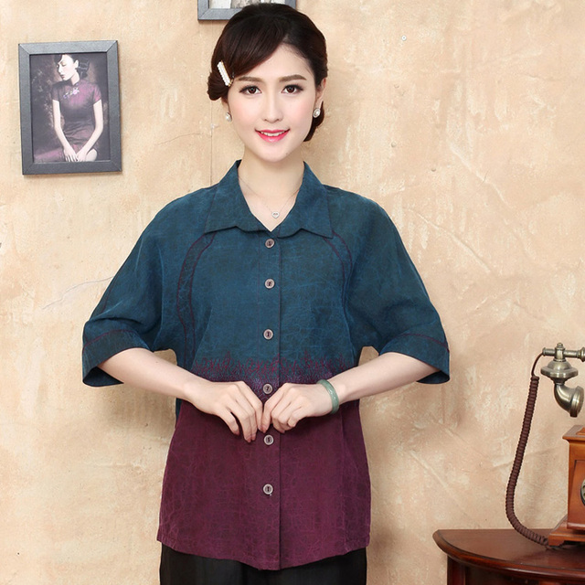 2c095224eaa Fashion 100% Silk Women Traditional Shirt Silkworm Blouse Blusa Chinese  Female Buttercup Silk Shirt Tops Mujer Camisa TYR2096