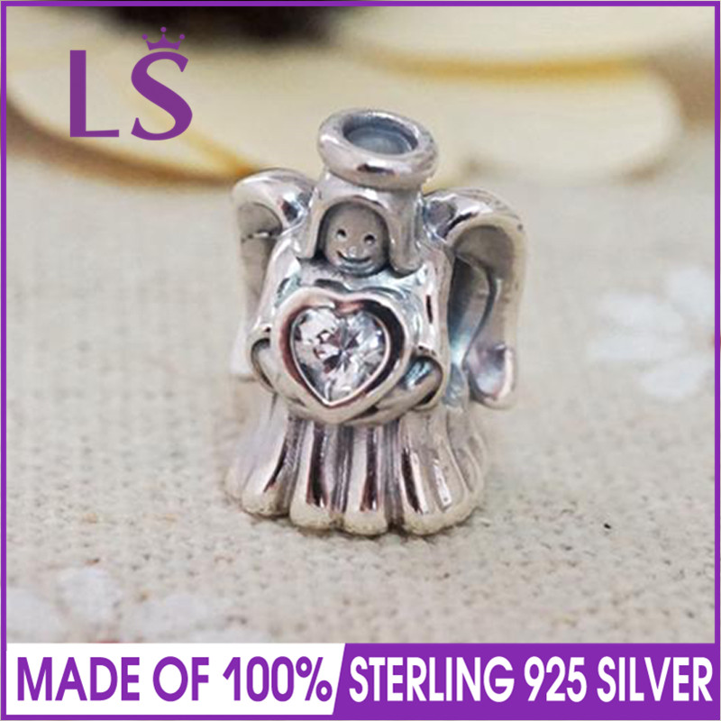 LS High Quality Real 925 Silver Angel of Love Charm Beads Fit Original Bracelets Pulseira Encantos.100% Real Fine Jewlery.W