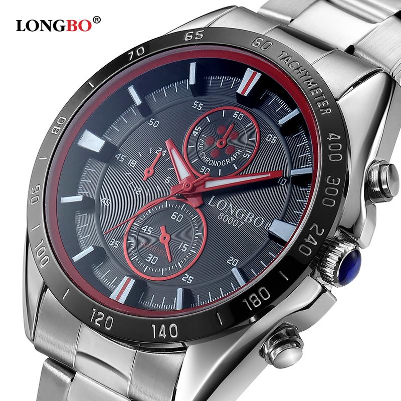 Prix pour 2016 mode de luxe marque longbo acier inoxydable sports business style analogique quartz montres bracelet étanche hommes montres 80007