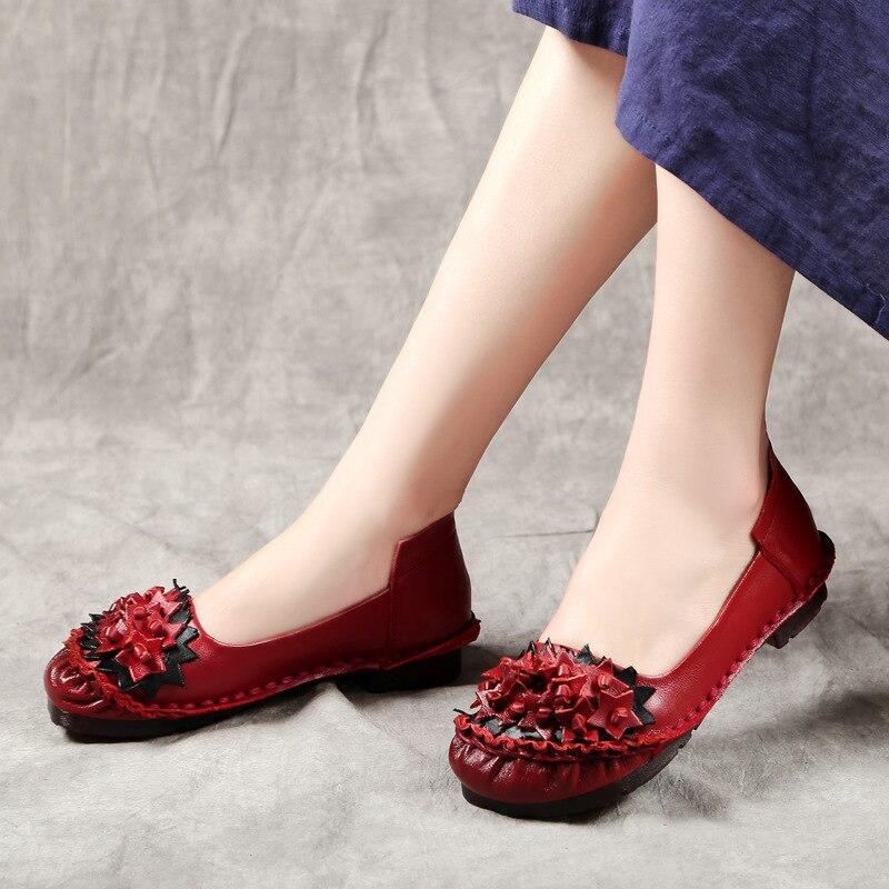 Femmes Marque 2018 Mode Mariage De La Appartements Cuir Vache Chaussures Zxryxgs Main Fleur Noir À Doux Confort rouge Printemps En xAdnYnwq