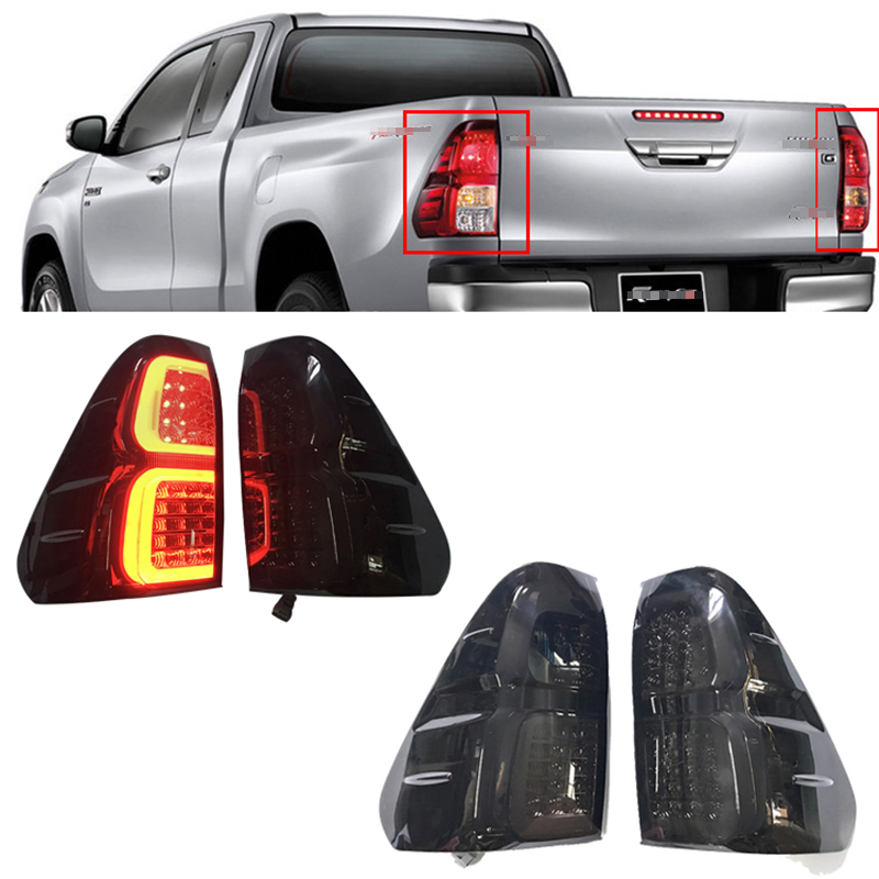 HIGH QUALITY Brake lights tail lamp 2Pcs rear lights MOTORCYCLE accessories Brightness Lamp fit for toyota hilux vigo REVO 2015+ gtm 24
