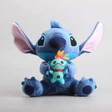 купить 25 CM Lilo Stitch Holding SCRUMP Plush Toy Stuffed  Doll Birthday Christmas Children Gift For Kids Collection по цене 557.52 рублей