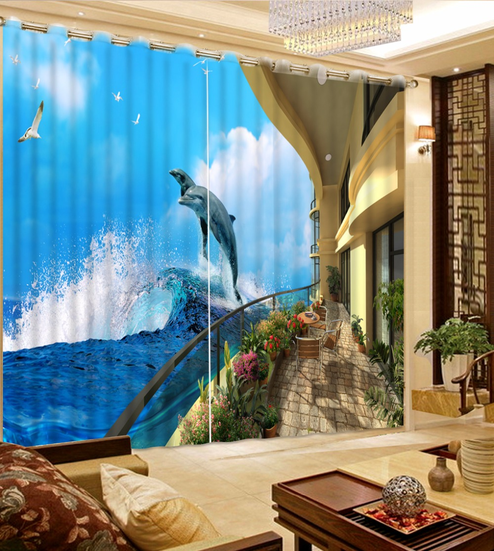 Curtain For Balcony: European Curtains For Living Room Bedroom Balcony Sea View