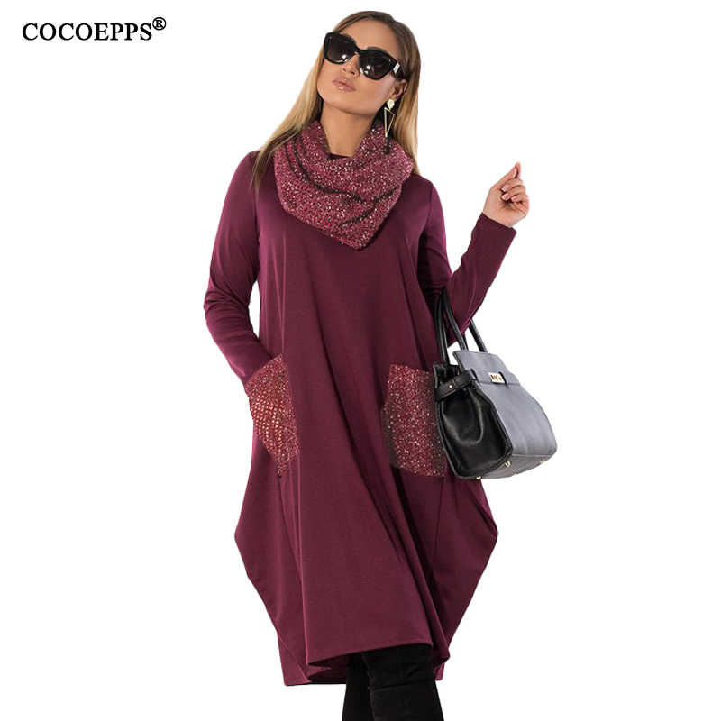 1649a2090c892 COCOEPPS 5XL 6XL Winter Loose women Dress big sizes Casual Long Sleeve Dress  new 2019 Plus