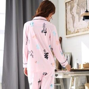 Image 3 - Pyjamas femmes 2018 nouveau printemps coton Pijamas ensemble mignon rose vêtements de nuit de dessin animé Pyjamas pour femmes Pijama Feminino Pyjama 2 pièces/ensemble