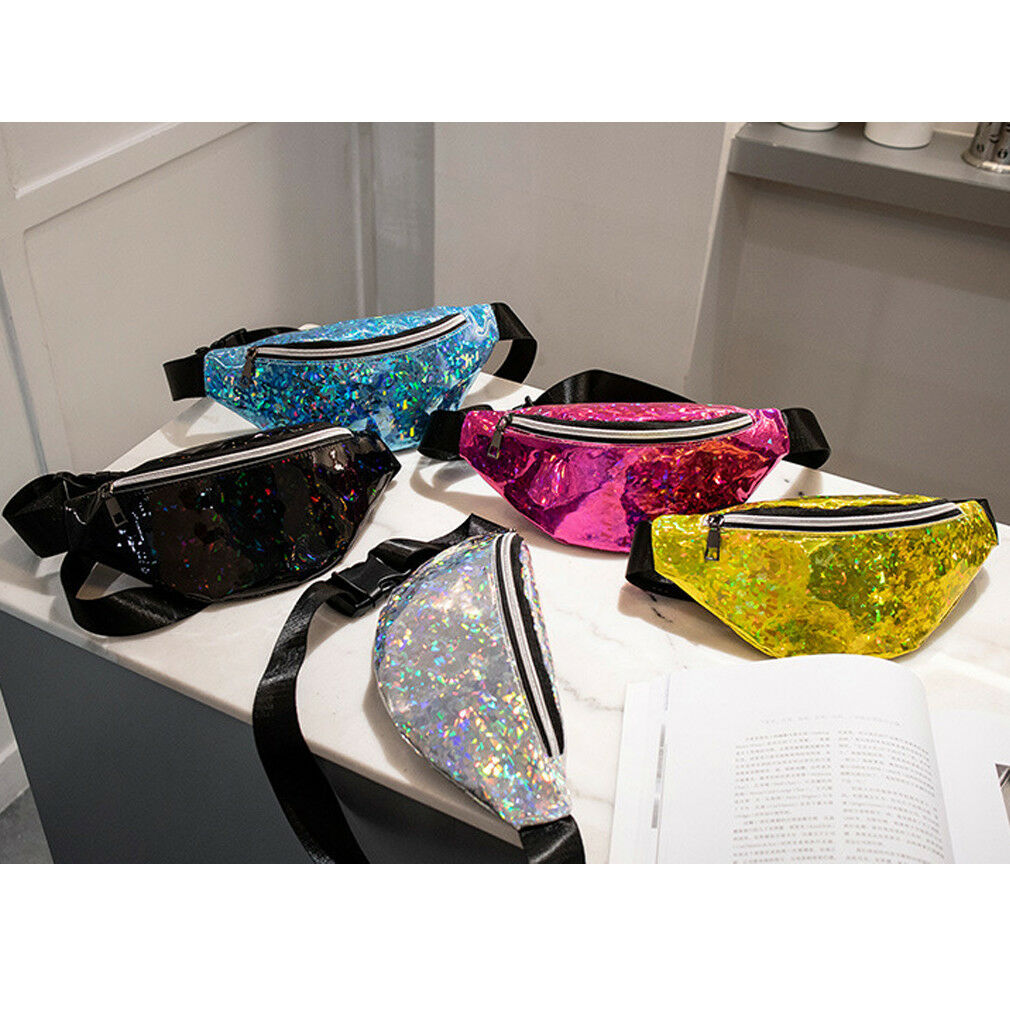 Laser Sequins Glitter Waist Fanny Cool Punk Pack Belt Bum Bag Pouch Hip Purse