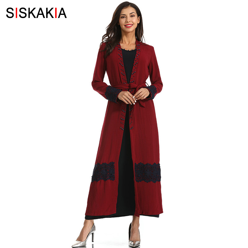 Siskakia Ethnic Beaded Cardigan Robes Cotton Linen Two Pieces Set Burgundy Muslim Clothes with Basic Black Long Dress lace Patch