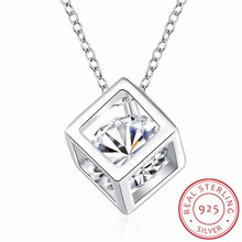 INALIS Newest 2017 Square Box Cube Pendant Necklace for Women Sweet Statement Necklace Gift 925 Sterling Silver Fine Jewelry