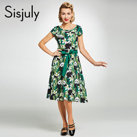 Sisjuly Vintage 1950s Dress Green Floral Color Block A Line Short Sleeve Mid Calf Women O