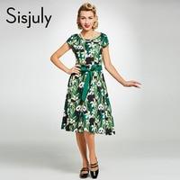 Sisjuly Vintage 1950s Dress Green Floral Color Block A Line Short Sleeve Mid Calf Women O