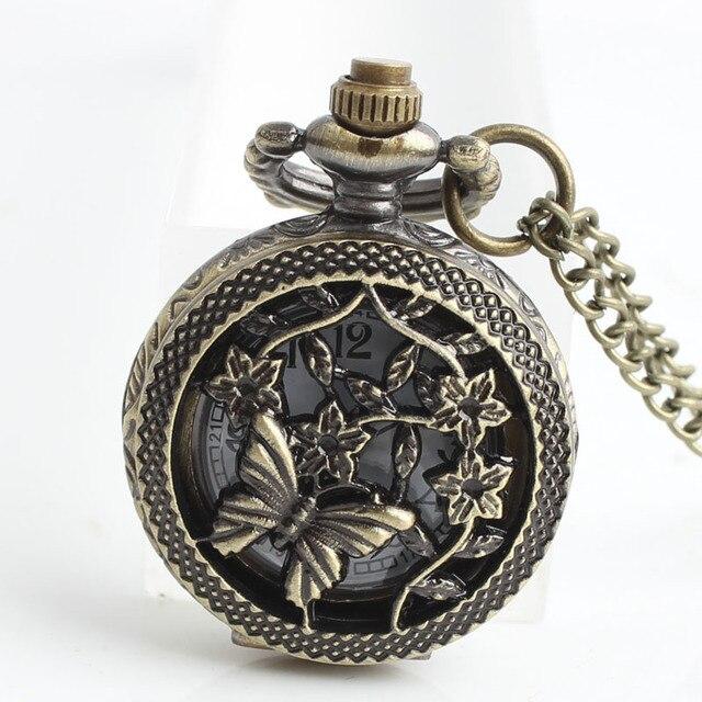 #5001 Fashion  Bronze Butterfly Pocket Watch  Retro Bronze Butterfly and Flower Openwork Cover Pocket Quartz Watch