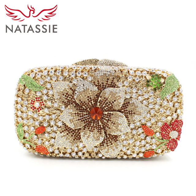 Natie Women Flower Crystal Clutch Bag Lady Dinner Party Diamonds Purse Wedding Day Clutches Whole